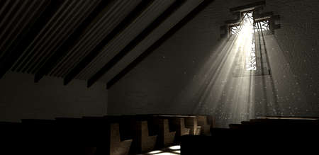 An old church interior with a stained glass window in the shape of a crucifix with a spotlight rays penetrating through it reflecting the image on the floor