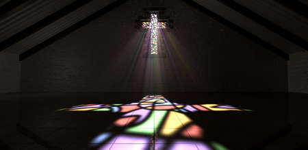glass brick: An interior building with a colorful stained glass window in the shape of a crucifix with a spotlight rays penetrating through it reflecting the image on the floor