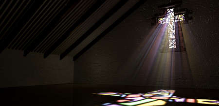 penetrating: An interior building with a colorful stained glass window in the shape of a crucifix with a spotlight rays penetrating through it reflecting the image on the floor