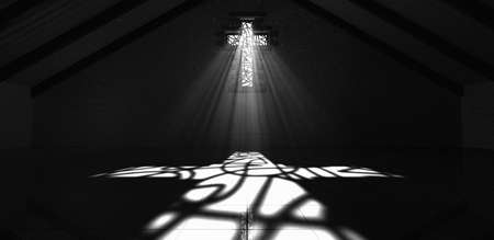 cross light: An interior building with a crucifix shaped stained glass window with a spotlight rays penetrating through it reflecting the image on the floor