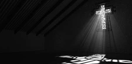 十字架と建築内装形スポット ライトでステンド グラスの窓階のイメージを反映してそれを貫通する光線 写真素材