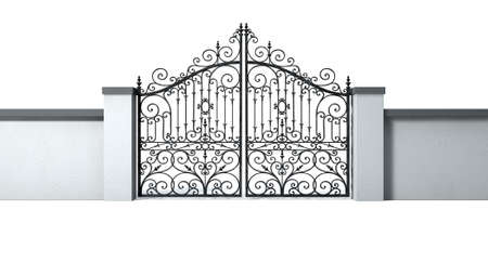 front entry: A solid plastered garden wall with an ornate shut metal gate on an isolated white background Stock Photo