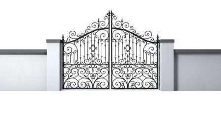 puertas de hierro: Un muro del jardín pegado sólido con una puerta de metal cerrada adornado en un fondo blanco aislado Foto de archivo