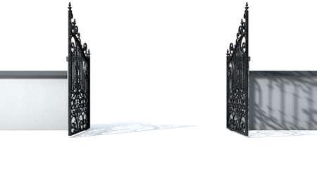 puertas de hierro: Un muro del jardín pegado sólido con una puerta metálica abierta adornada en un fondo blanco aislado