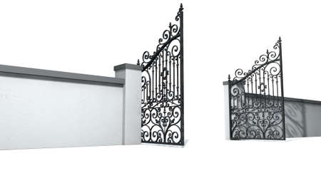 open gate: A solid plastered garden wall with an ornate open metal gate on an isolated white  Stock Photo