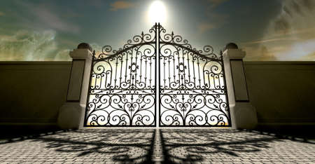 hereafter: A set of closed ornate gates to heaven under an ethereal light and cloudy afterlife