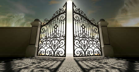 A set of ornate gates to heaven opening under an ethereal light and cloudy afterlife photo