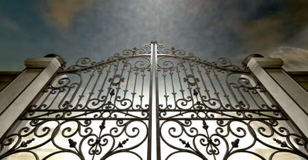 pearly gates: A set of closed ornate gates to heaven under an ethereal light and cloudy afterlife