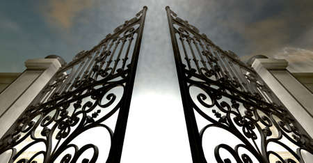 hereafter: A set of ornate gates to heaven opening under an ethereal light and cloudy afterlife