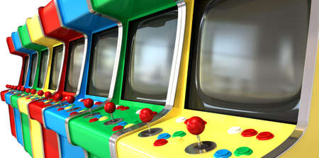 ARCADE GAMES: A flat row of vintage unbranded arcade games with joysticks and various colored buttons and a blank screen on an isolated white