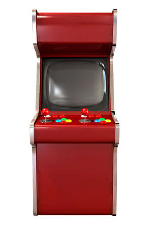 A  vintage red unbranded arcade game with a joystick and four various colored buttons and a blank screen on an isolated white
