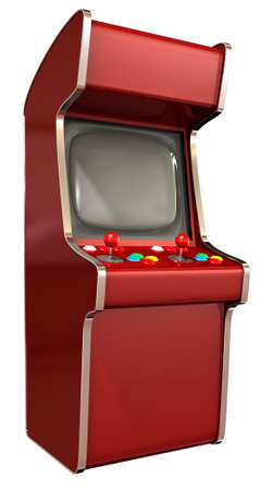 unbranded: A  vintage red unbranded arcade game with a joystick and four various colored buttons and a blank screen on an isolated white