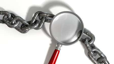 link up: A worn metal with a missing link breaking the cycle highlighted by a magnifying glass with a red handle on an isolated