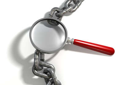 missing link: A worn metal with a missing link breaking the cycle highlighted by a magnifying glass with a red handle on an isolated