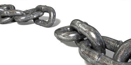 link up: A worn metal with a missing link breaking the cycle on an isolated