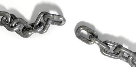 seperated: A worn metal with a missing link breaking the cycle on an isolated