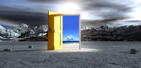An ominous barren landscape scene with an open isolated yellow door in the centre under an ethereal spotlight showing a paradise beach with sand sea and clouds  Stock Photo