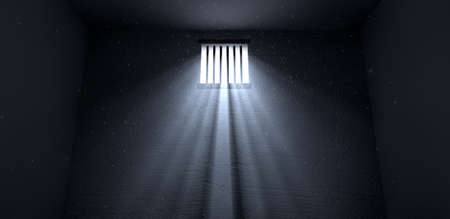 correctional: An old jail cell interior with barred up window with light rays penetrating through it reflecting the image on the floor