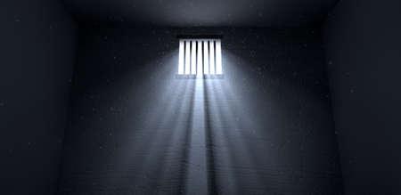 cellule de prison: Un vieil intérieur de la cellule de prison avec barrée jusqu'à la fenêtre avec des rayons de lumière qui pénètre à travers elle reflète l'image sur le sol