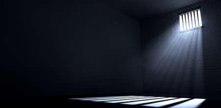 Een oude gevangeniscel interieur met versperd up venster met lichtstralen doordringende doorheen gevolg van het beeld op de vloer