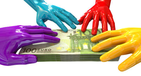 A group of glossy multicolored hands reaching and grapping at a wad of one hundred euro bank notes on an isolated white  Stock Photo