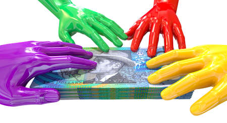 australian money: A group of glossy multicolored hands reaching and grapping at a wad of australian ten dollar bank notes on an isolated white  Stock Photo