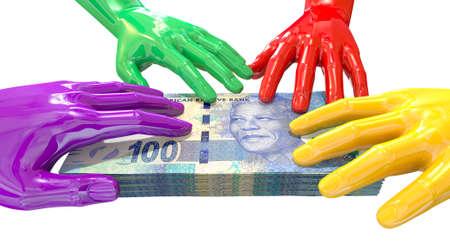 corrupcion: Un grupo de brillantes manos multicolores alcanzar y cuando la sostiene en un fajo de cien billetes rand en un blanco aislado