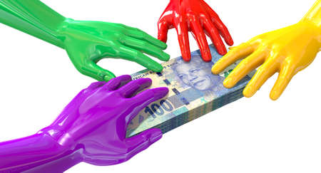 snatch: A group of glossy multicolored hands reaching and grapping at a wad of one hundred rand bank notes on an isolated white  Stock Photo