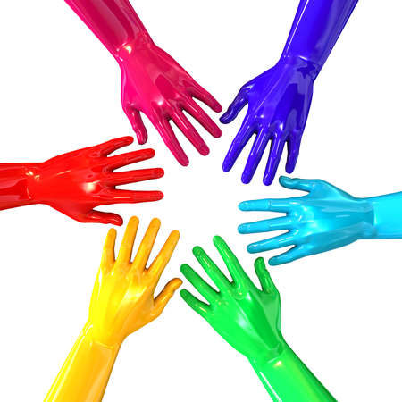 inwards: A top view of a circular group of glossy multicolored hands reaching inwards towards each other on an isolated white background Stock Photo