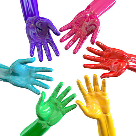 inwards: A bottom view of a circular group of glossy multicolored hands reaching inwards towards each other on an isolated white  Stock Photo
