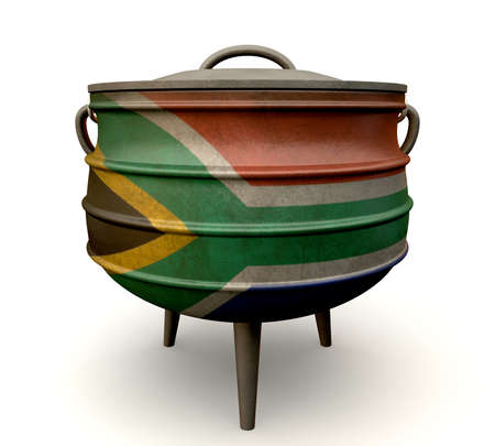 zulu: A traditional cast iron potjie pot painted in the south african flag colors on an isolated