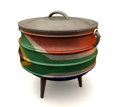 cast iron: A traditional cast iron potjie pot painted in the south african flag colors on an isolated
