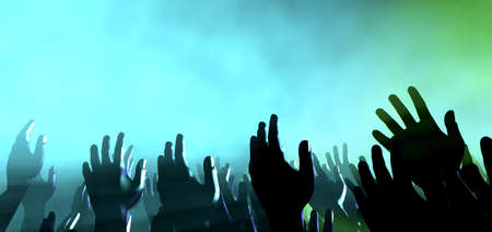 blue church: A crowd level view of hands raised from the spectating crowd interspersed by colorful spotlights and a smokey atmosphere