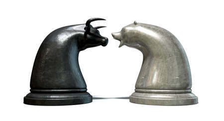 contrasting: Two contrasting metal chess pieces depicting a stylized bull and a bear opposing each other representing financial market trends on an isolated white background