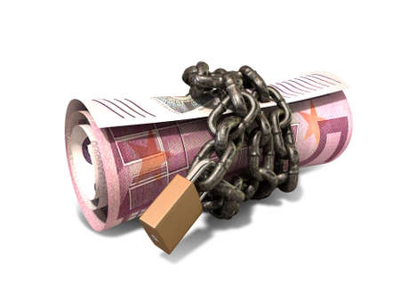 A rolled up euro note wrapped with chains and secured with a padlock on an isolated background Stock Photo