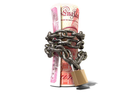 confine: A rolled up british one hundred pound note wrapped with chains and secured with a padlock on an isolated background