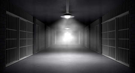 An eerie haunting corridor in a prison at night showing jail cells illuminted by various ominous lights