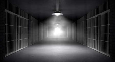 rejas de hierro: Un corredor inquietante extraña en una prisión en la noche mostrando celdas illuminted de varias luces siniestras