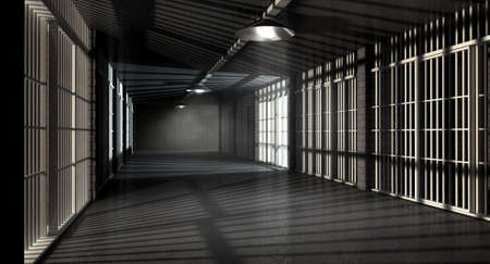 A corridor in a prison at night showing jail cells illuminted by various ominous lights photo