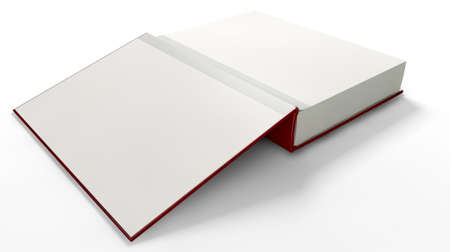 An open red hardcover book with white blank pages on an isolated white background Stock Photo - 23438971