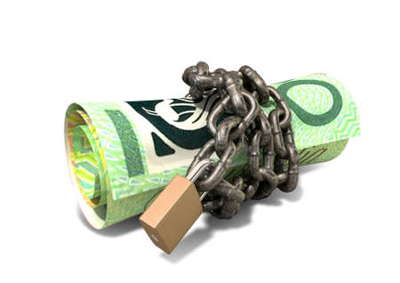 rolled up: A rolled up australian dollar note wrapped with chains and secured with a padlock on an isolated background