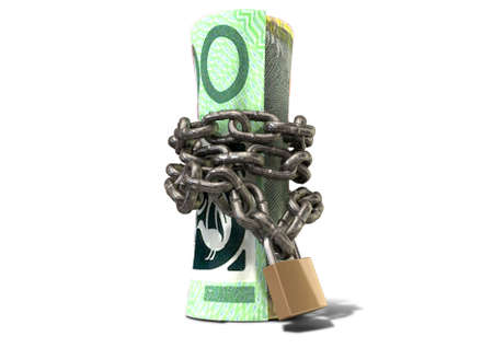 confine: A rolled up australian dollar note wrapped with chains and secured with a padlock on an isolated background