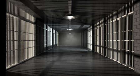 ominous: A corridor in a prison at night showing jail cells illuminted by various ominous lights