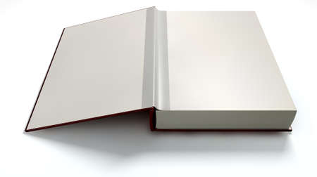 An open red hardcover book with white blank pages on an isolated white background photo