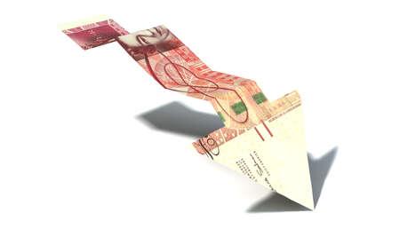 libra esterlina: Un gráfico de flecha de tendencia forma 100 libras el billete de banco que muestra una tendencia a la baja económica sobre un fondo aislado Foto de archivo