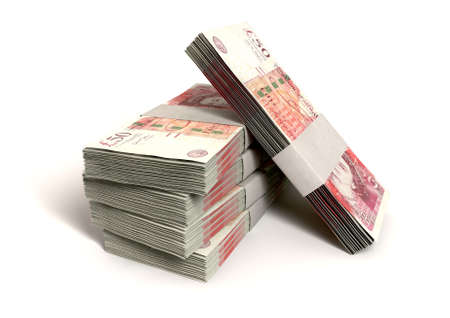 british money: A stack of bundled one hundred british pound notes on an isolated background Stock Photo