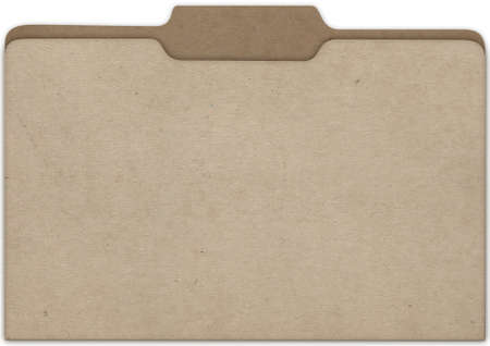 slightly: A flat view of a slightly parted cardboard office folder with tabs isolated on white background