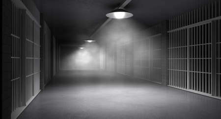 An eerie haunting corridor in a prison at night showing jail cells illuminted by various ominous lights photo