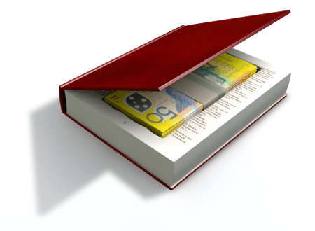 venality: A red hardback book with a cutaway area in the pages concealing a stack of fifty australian dollar bank notes on an isolated background Stock Photo