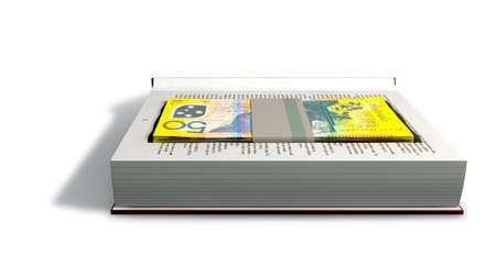 misconduct: A red hardback book with a cutaway area in the pages concealing a stack of fifty australian dollar bank notes on an isolated background Stock Photo